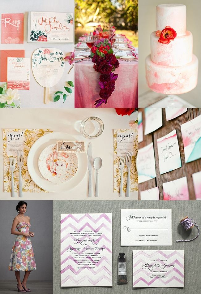 Watercolor Wedding Ideas!  I love the idea of pulling watercolors into the theme.