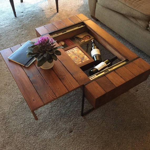 Block coffee table features a sliding top to reveal a storage compartment. Table measure approx 36x19.5x17, email for custom sizes and features. Item is made to order, please allow 6-8 weeks for construction.