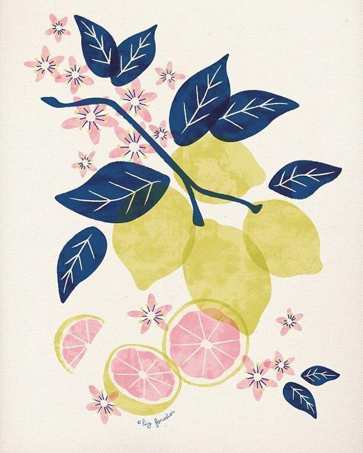 Lemony. Liz Forester. #illustration #illustrator #digitalillustration #fruit #lemon