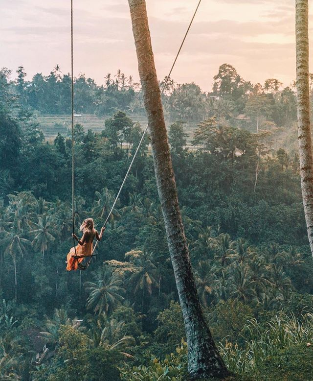 Swinging over the jungle Ubud Bali dreamy