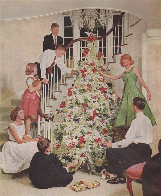 Decorating the Christmas tree - great photo from Better Homes & Gardens, 1958.