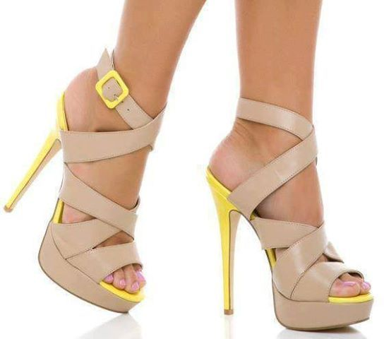 beige and yellow strappy heels