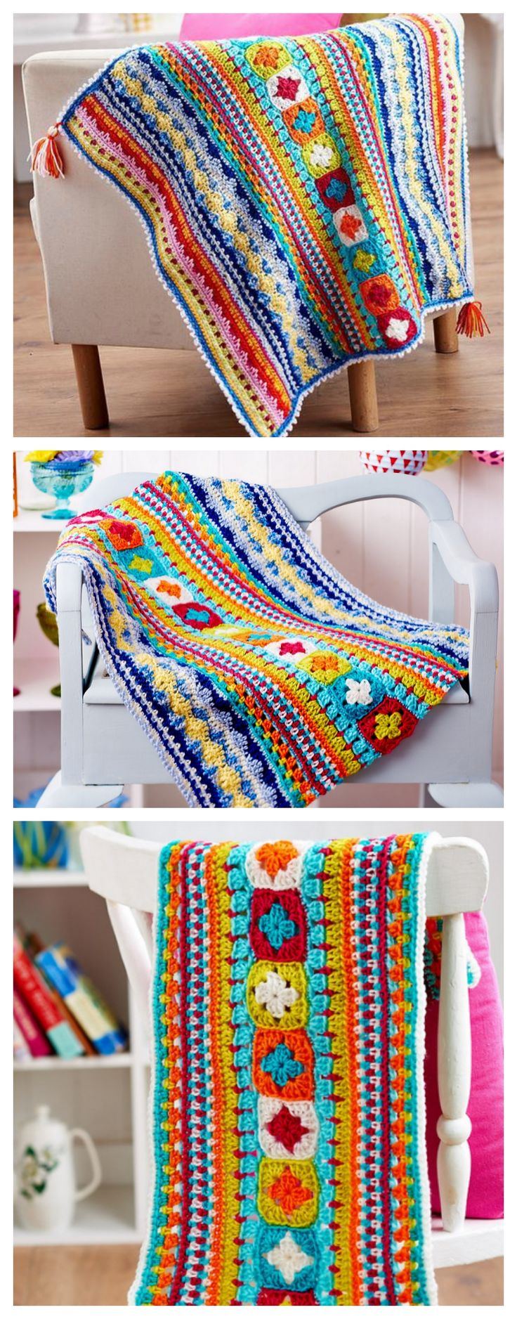 FREE PATTERN: 3-part  Crochet Sampler Blanket ༺