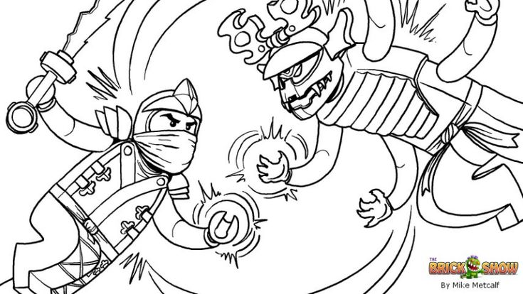 Printable coloring page for LEGO Ninjago Green Ninja VS Overlord Final Battle!