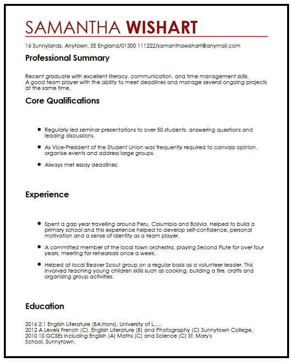 Cv Sample With No Job Experience Myperfectcv In 2020 Job Resume Examples No Experience Jobs Work Experience Cv
