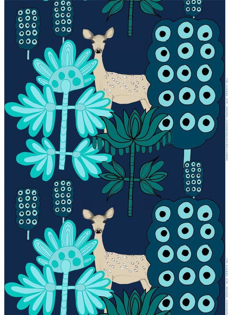 Kaunis kauris -kangas (t.sininen,turkoosi)  Kankaat, Puuvillakankaat   Marimekko