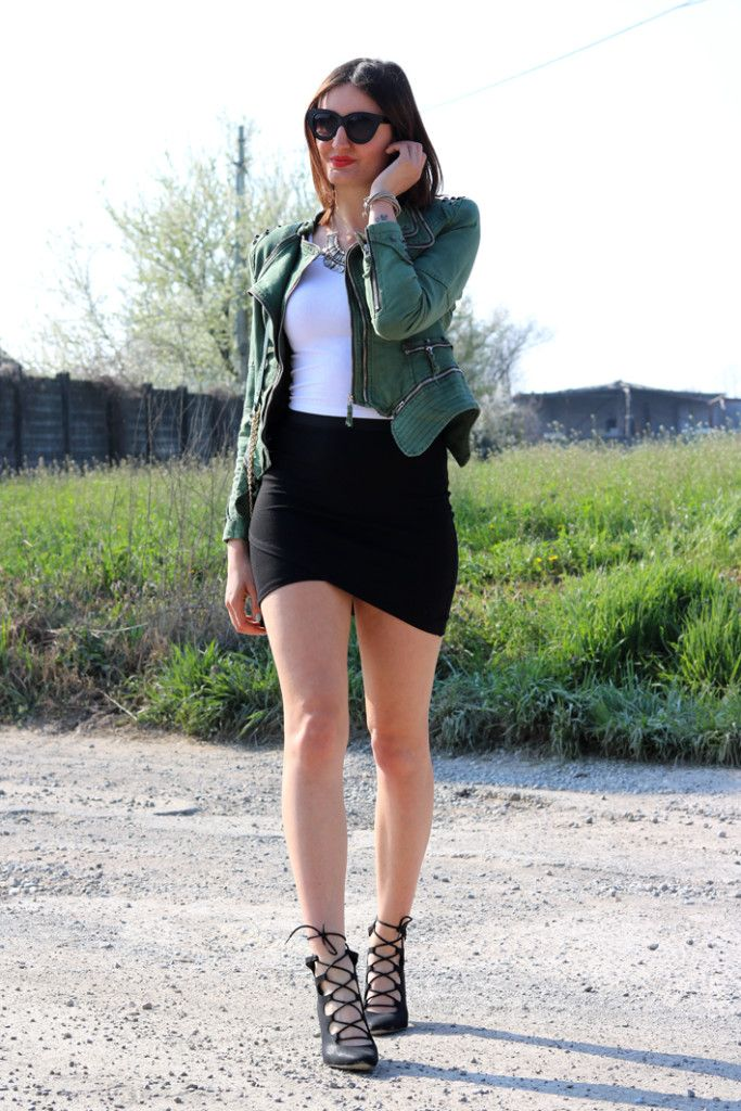 Strike a Pose // Sexy Alice Cerea in our green studded shoulder denim blazer. #LBSDaily