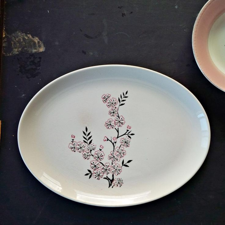 Vintage Cherry Blossom Platter - Vintage Floral Dinnerware - Black, Pink, Red Dinnerware