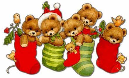Teddy bears in stockings