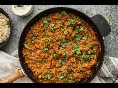 Vegan Red Lentil Masala with Spinach | Naturally Ella