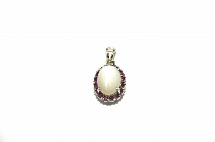 100% REAL! Moonstone Ruby Genuine Gemstone Necklace Pendent 9.70 Ct 925 Silver   #Handmade #Pendant
