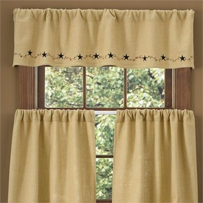 Burlap Star Lined Valance by Park Designs #parkdesigns