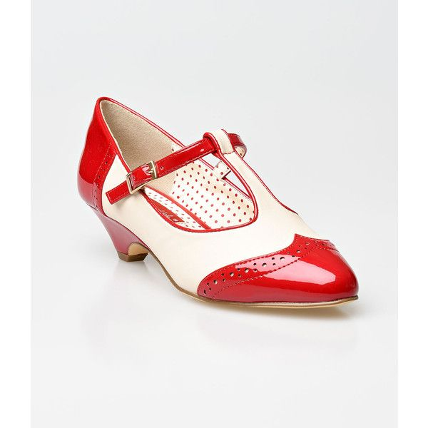 b.a.i.t. Red & Cream Matte Ione Wingtip Spectator T-Strap Pumps ($67) ❤ liked on Polyvore featuring shoes, pumps, red, pointed-toe pumps, red shoes, cream pumps, retro shoes and oxford shoes