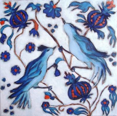 Iznik birds and flowers (turkish ceramics)