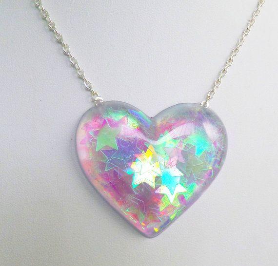 Holographic Iridescent Stars Heart Shaped Pendant by CandyShockUK