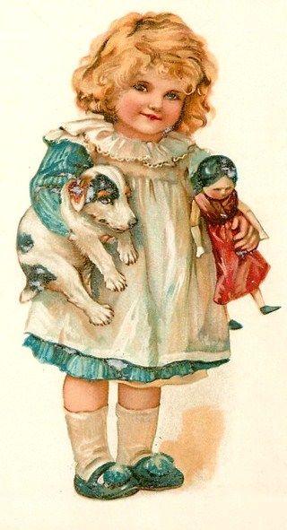 """Raphael Tuck Valentine Brundage """"Little Favorites"""" Dog Doll Postcard"""