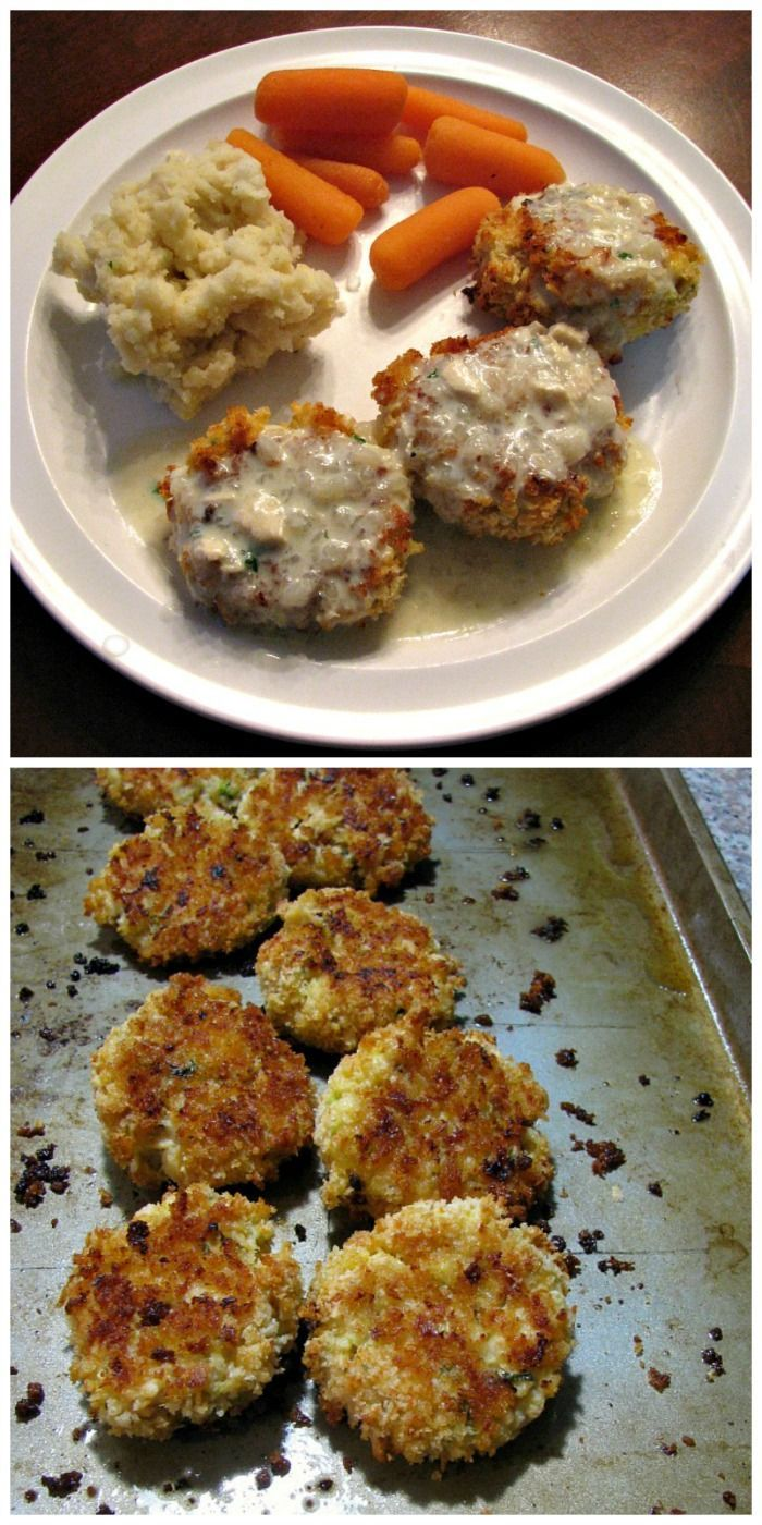 Baked Chicken Croquettes made with Bechamel sauce and homemade chicken gravy,