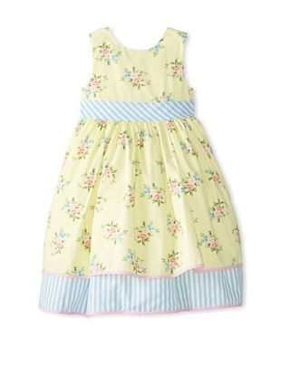 44% OFF Laura Ashley Girl's Floral Dress with Gingham Trim (Yellow/Blue)