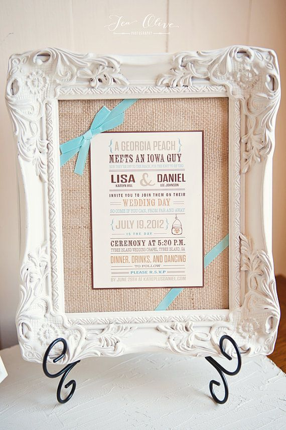 Frame the invite at the entrance to the reception. <3 ~ Wedding Invitation Rustic and Vintage Mason Jar by WideEyesDesign, $2.00