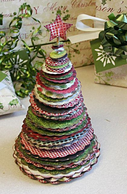 scalloped punched circles in different sizes and colors to make a tree.