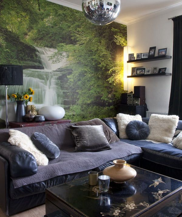 Beauty Nature Living Room Wallpaper Design 600x718