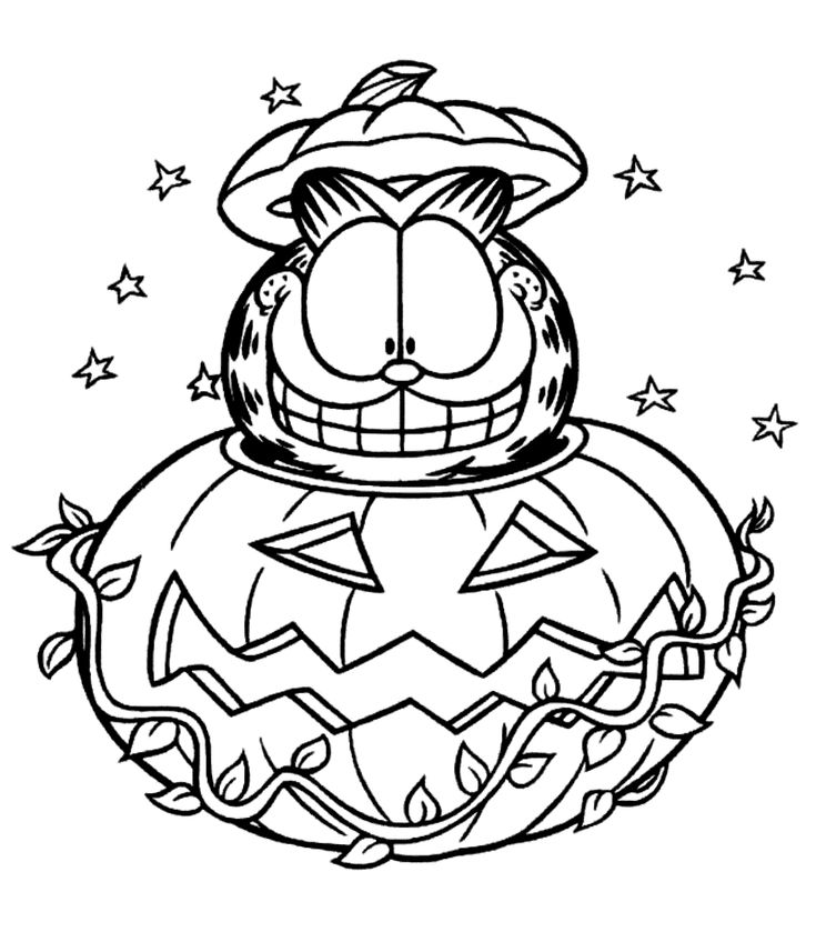 garfield halloween coloring pages for kids printable free