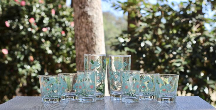 Set of Eight Taylor Smith Taylor Ever Yours Boutonniere Drinking Glasses / Ever Yours Tumblers / Ever Yours Service for Two / Aqua Glassware by theretrobeehive on Etsy https://www.etsy.com/listing/466855099/set-of-eight-taylor-smith-taylor-ever