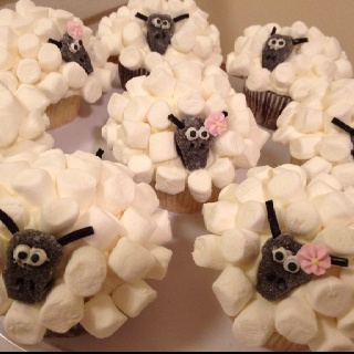 My sister is awesome, partially because she can make things like this ---Mary Had A Little Lamb cupcakes