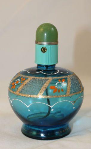 старинная стеклянная духи флакон-спрей атомизатор ~ aqua зеленый синий стекло эмаль in Керамика и стекло, Стекло, Художественное стекло, Богемское, чешское, Moser | eBay