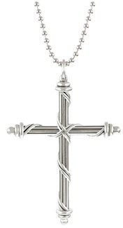 Peter Thomas Roth Fine Jewelry Peter Thomas Roth Mens Signature Cross Necklace On Beaded Chain In .925 Sterling Silver.