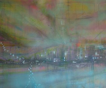 Take back the city // katharyna ulriksen 2009 mixed media on canvas#painting #art #maps #cities #senseofplace #nonplace #travel #transit #temporary #locations