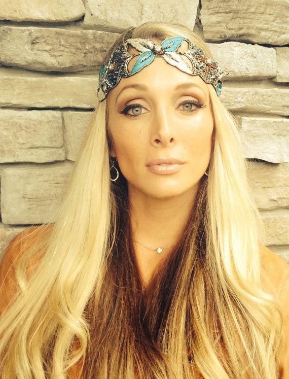 Headbands, crystal beaded, turquoise jeweled headband, with bronze beads, boho Women elastic hair piece