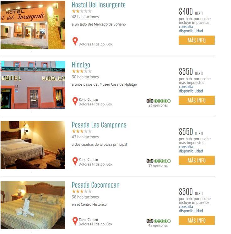 Hoteles en Dolores Hidalgo, Pueblo Mágico, en el Estado de Guanajuato.