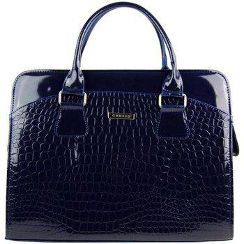 Grosso Kabelky Dámská elegantní taška na notebook modrý lak ST01 15.6 quot; - Modrá