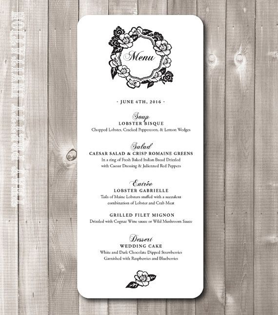Check out this item in my Etsy shop https://www.etsy.com/listing/262744159/printable-wedding-menus-style-m40-vanity