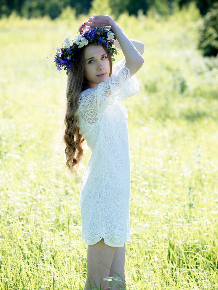 Flower Girl, lace dress, flower crown, summer photoshoot
