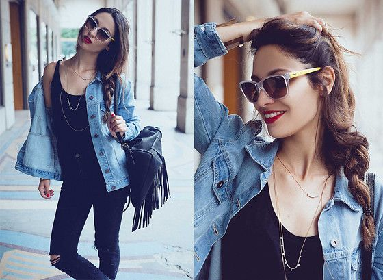 Get this look: http://lb.nu/look/7800274  More looks by Sofya Benzakour Knidel: http://lb.nu/lacouleurdumoment  Items in this look:  Forever 21 Denim Jacket, Vogue Eyewear Sunglasses, Fashion Pills Fringed Bag   #casual #sporty