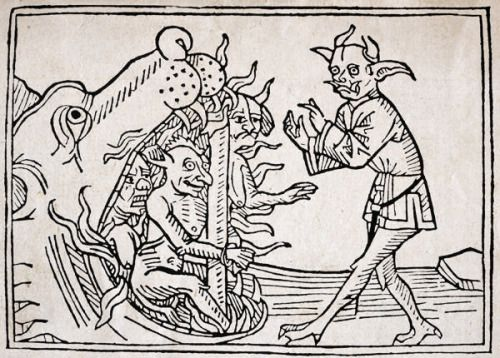 Jacobus de Teramo - The Devil Belial before the Gates of Hell, from 'Das Buch Belial', published in Augsburg, 1473