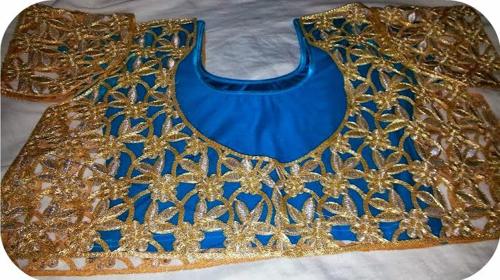cut work golden lace blouse   Readymade blouse