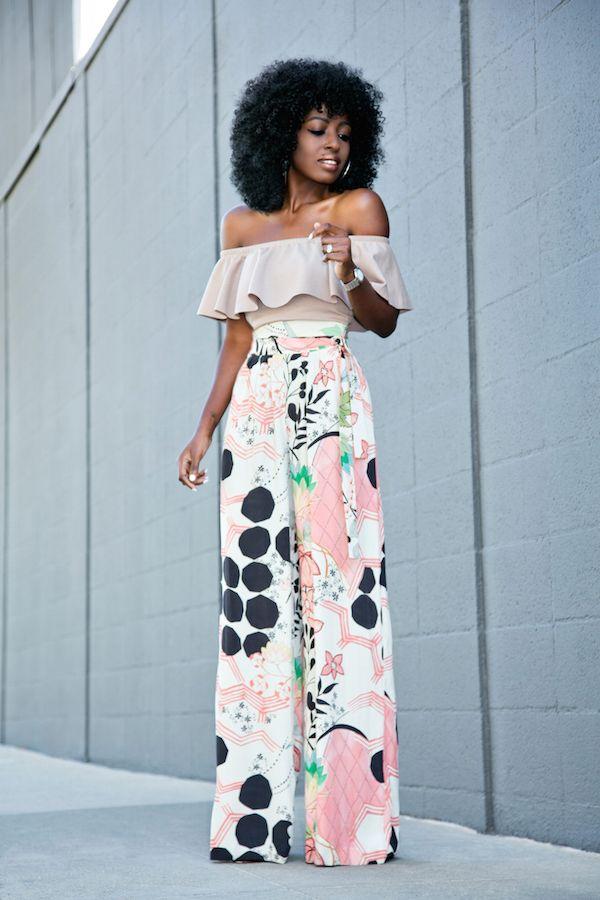 Style Pantry | Frill Off Shoulder Blouse + High Waist Printed Pants | nicky de 2019 | Calça pantalona, Roupas estilosas e Roupas femininas
