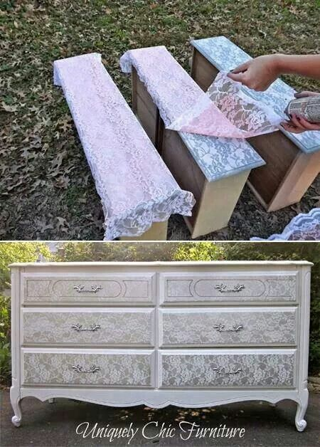 Upcycle dresser with lace & paint
