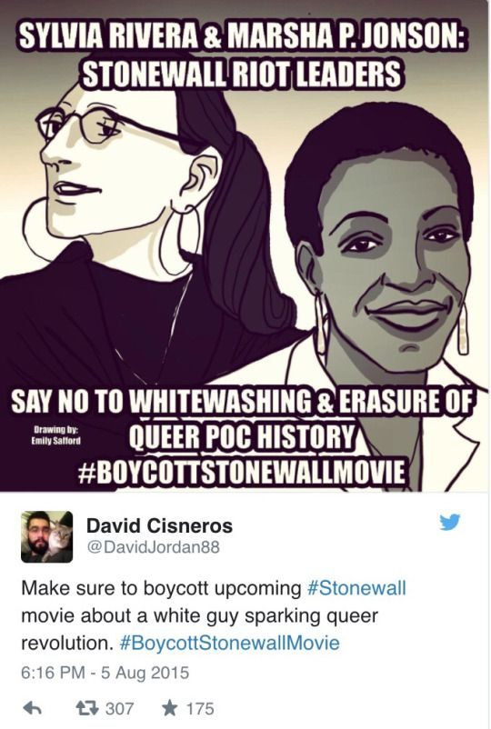 """Sylvia Rivera & Marsha P. Johnson, Stonewall Riot Leaders. Say no to whitewashing & erasure of queer history. #BoycottStonewallMovie"" Artist: Emily Salford THIS HAPPENED A WHILE AGO BUT IM STILL MAD ABOUT THAT WHITEWASHED MOVIE"
