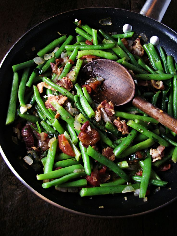Green Beans with Bacon by katieatthekitchendoor #Green_Beans #Bacon