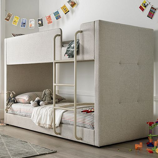 Tesco direct: Happy Beds Saturn Fabric Kids Bunk Bed - Oatmeal - 3ft Single