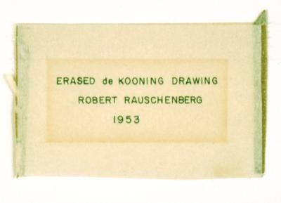 Detail of Robert Rauschenbergs <em>Erased de Kooning Drawing</em> showing inscription