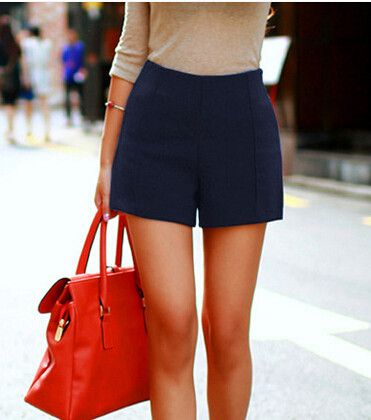 High-Waist Imitate Woolen Shorts Solid Boots Shorts Casual Wear Plus Size