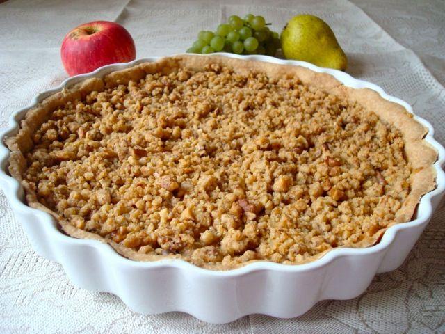 Hruškovo-jablkový koláč s ořechovou drobenkou | Pear, Apple, Walnut Streusel Pie - www.vune-vanilky.cz