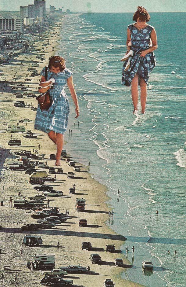 """Une sélection des magnifiques collages issus de la série """"Mapping""""de l'artiste américaineSarah Eisenlohr, qui mélange de vieilles photos et cartes pos"""