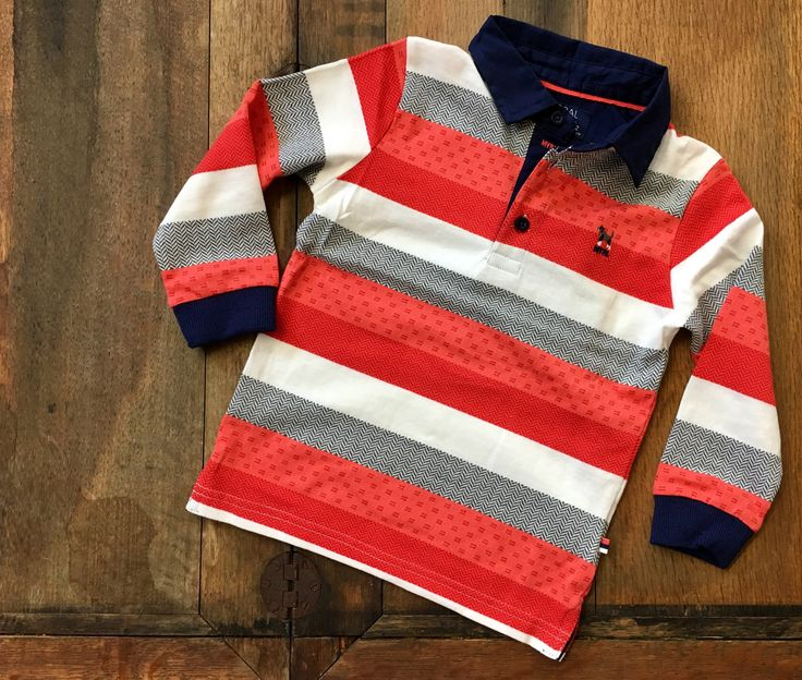 Mayoral Boys Red and Herringbone Stripe Long Sleeve Polo