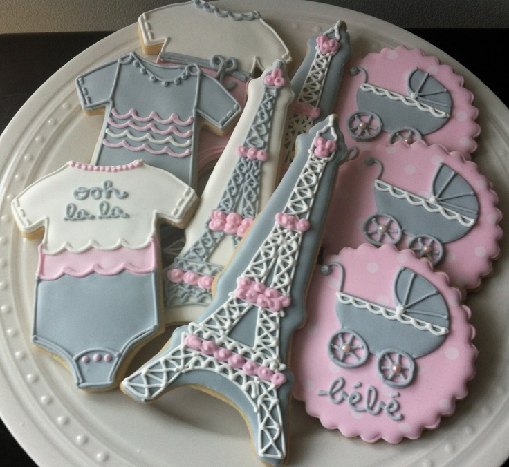 Decorated French Themed Baby Shower Cookies, onesies, eiffel tower, parisian bebe carriage. $48.00, via Etsy.